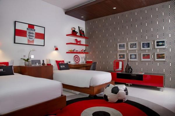 Red Bedroom With Twin Beds And Modern Interior