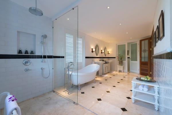 Rain Shower, Bathtub, Twin Basin Facilities In The Bathroom